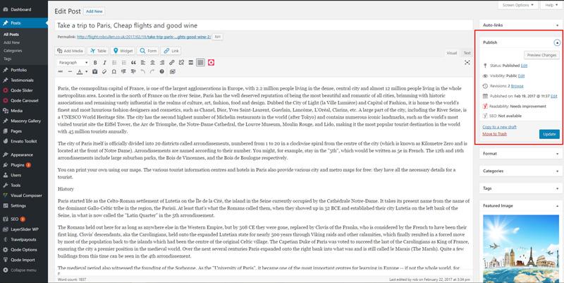wordpress blog publish