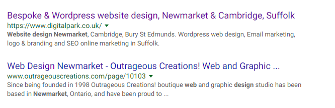 google search web design newmarket